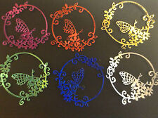 Embellishments Die Cut Flower Circle with Butterfly Asstd Metallic Card  Qty 6