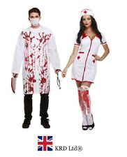ADULT BLOODY DOCTOR & SEXY NURSE COUPLE COSTUME Halloween Fancy Dress Zombie UK
