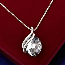 18K Rose Gold GP Made With Swarovski Crystal Oval Cut Crossover Gray Necklace
