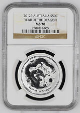 2012 Perth Lunar Dragon 1/2 oz NGC MS 70 Half Ounce .999 Australia Silver Coin