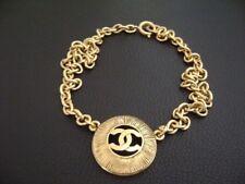 Authentic Chanel Vintage Gold CC Round Pendant w/ Chain Choker Necklace