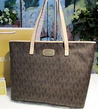 NWT MICHAEL KORS Jet Set MD TZ Multi-function Tote Bag BROWN PVC/Leather $278