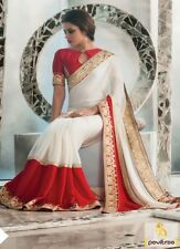 Top 10 Selling Sarees Indian Designer Off White & Red Bollywood Inspired Sarees