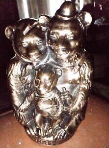 "Vintage Bronze-Copper Three Bears Piggy Bank 5 1/2"" Tall"