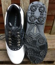 DUNLOP GOLF SHOES SIZE 8 BLACK AND WHITE SOFT SPIKES .G.C