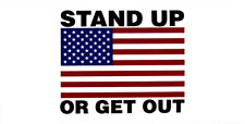 Wholesale Lot of 6 Stand Up Or Get Out USA Flag White Decal Bumper Sticker