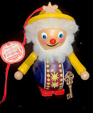 STEINBACH Germany Wood Christmas Ornament Figure With Gold Key Hand Made