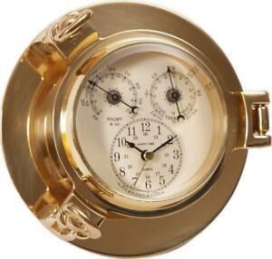 Multimeter im Bullauge, Marine Instrument, Uhr, Hygrometer und Thermometer 14 cm