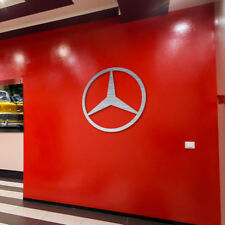 Mercedes Benz Star Logo Sign Garage Brushed Silver Aluminum 2 FT