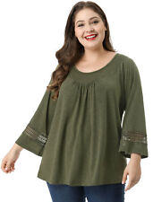f0b4c1067ef1b Women Plus Size Crochet Panel Kimono Raglan Sleeves Ruched Front Top Green  1x