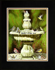 "Matted Backyard Birds In Fountain Art Print ""Birds Of Paradise"" by Roby Baer PSA"