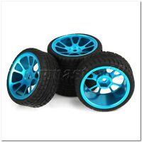 4 x RC 1:10 On-Road-Auto-Kunststoff-Drift Reifen & Blue Alloy 10-Speichen-Felge