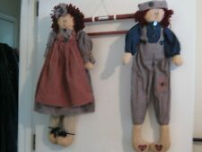 "LARGE HANGING STUFFED HANDMADE RAGGEDY ANN AND RAGGEDY ANDY DOLLS 28"" Tall"