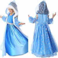 Girls Frozen Elsa Princess Costume Dress With Fur Hooded Cape Fancy Party Dress