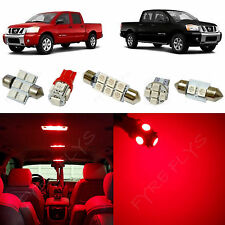 11x Red LED Lights Premium Interior Package Kit for 2004-2015 Nissan Titan NT1R