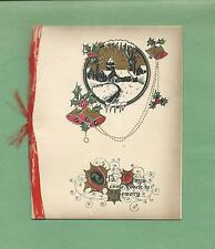 Country CHURCH IN WINTER, REAL RIBBON Vintage Art Deco CHRISTMAS Greeting Card