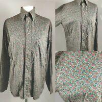 Vintage Women's Blouse Shirt Floral Roses Ditsy Print Retro Grunge Blogger 14 L