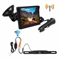 Wireless Backup Camera Monitor Kit License Plate + Rear View Camera Waterproof