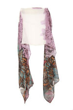 Beige Purple Multi Color Floral Abstract Inpsired Graphic Print Scarf Unique(S2)