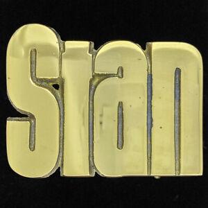 Stan Stanley Name Retro Hippie Western Cowboy Brass 70s NOS Vintage Belt Buckle