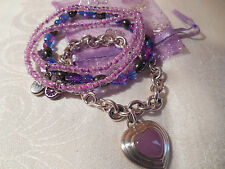 Sterling Silver Solid 925 Bracelet Genuine Jade Heart in Lavender Purple 7 1/4