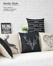 Black&White Nordic Deer Animal Heart Flax Linen Pillow Case Cushion Cover Ouw