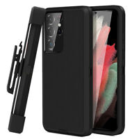 For Samsung Galaxy S21+ Ultra Heavy Duty Kickstand Cover Bumper Case +Belt Clip