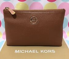 New Authentic  Michael Kors  Fulton Leather Travel Case Cosmetic Case in Luggage