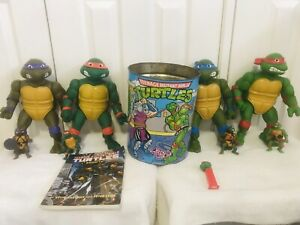 Original Teenage Mutant Ninja Turtles 1988-90 35cm & 12.5cm Figures Bin Book Lot