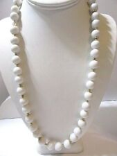 VINTAGE WHITE BALL BEADED NECKLACE GOLD TONE SPACER BEADS PLASTIC