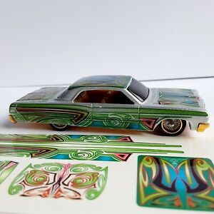 HOT WHEELS 64 CHEVY IMPALA LOWRIDER NEW DESIGN GREEN WATER SLIDE DECALS NEW
