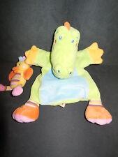 doudou marionnette crocodile vert + oiseau jaune NICOTOY