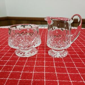Waterford Crystal Lismore Footed Sugar and Creamer Set.  EUC. Gothic Etching