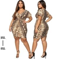 Plus Size Women's Sexy Snake Printing Dress Lady Bodycon Party Ball Gown Dresses