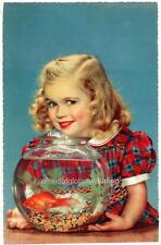 Old Photo Cute Girl and Goldfish Bowl