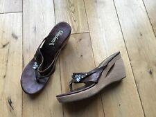 "Skechers Cali 2"" Wedge Summer Sandals In Bronze With Diamante Jewels Size 5"