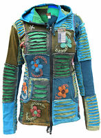 Razorcut Ribs Jacket Psychedelic Embroidery Patchwork Hippie Boho Pixie Hoodie
