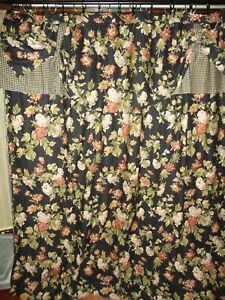 WAVERLY HARBOR SQUARE BLACK GREEN TAN FLORAL GINGHAM CHECK SHOWER CURTAIN 68X71