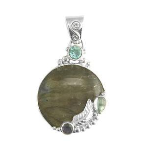 Offerings Sajen 925 Sterling Silver Labradorite Topaz & Iolite Pendant with Leaf