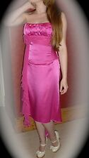 Charas BNWT Fuchsia Satin Formal Party Prom Dress UK size 10 Calf Length