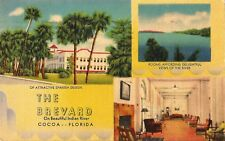 Postcard FL Florida Cocoa The Brevard Hotel 1951 Linen