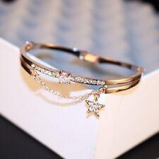 18K Rose Gold Filled Crystal Stone with star Bangle/SWAROVSKI ELEMENT Crysta