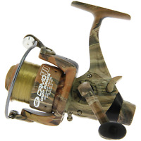Camo Size 60 Carp Runner Fishing Reel With Line & Spare Spool 3 Bearing