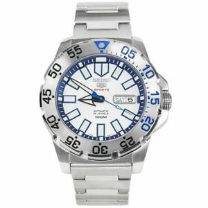 Seiko 5 Sports Baby 'Ice Monster' 'Snow Monster' Silver Steel Blue Dial SRP481K1