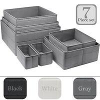 7-Piece Basket Storage Bins- Stackable Organizer Set for Closet shelves & Drawer
