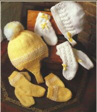Baby's Hat, Mitts and Sock Sets in DK Knitting Pattern 0-4 months 996