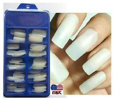 100Pc Box Natural False Nails Long Square Full Cover Unas Uñas Tips Art Usa!