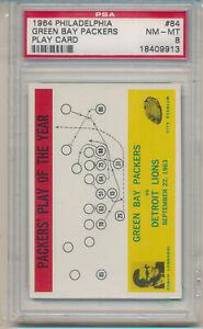 1964 Philadelphia Gum Green Bay Packers Play Card (Vince Lombardi) (#84) PSA8