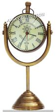 Nautical Maritime Table Clock Antique Brass Desk Decor Clock Stand Hanging Gift