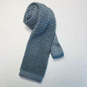 Men's Polo by Ralph Lauren 100% Silk Knit Tie  light blue Silver gray color